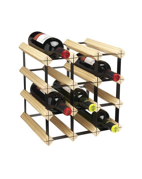 Hahn 12 Bottle Metro Natural Wooden Wine Rack Kit